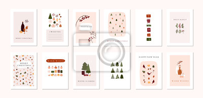 Poster Set of christmas new year winter holiday greeting cards with xmas decoration
