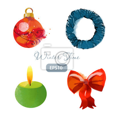 Set of christmas winter time wreath