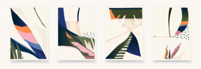 Set of colorful abstract botanical illustrations. Modern style wall decor. Collection of contemporary artistic posters.