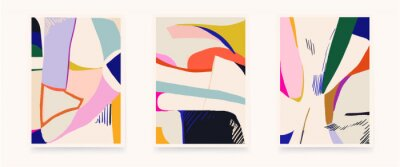 Set of colorful abstract shapes illustrations. Modern style wall decor. Collection of contemporary artistic posters.