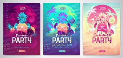 Poster Set of Colorful summer disco party posters with fluorescent tropic leaves, pineapple and flamingo. Summertime backgrounds