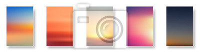 Poster Set of colorful sunset and sunrise sea. Blurred modern gradient mesh background paper cards.