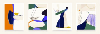 Set of contemporary abstract aesthetic shapes illustrations. Modern style wall decor. Collection of artistic posters.