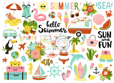 Poster Set of cute summer elements: sun, palm tree, beach umbrella, calligraphy, tropical flowers and birds. Perfect for summertime poster, card, scrapbooking , tag, invitation, sticker kit.