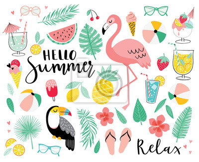 Poster Set of cute summer icons. Hand drawn vector illustration.  Flamingo, toucan, tropical palm leaves, fruits, food, drinks. Summertime poster, scrapbooking elements.