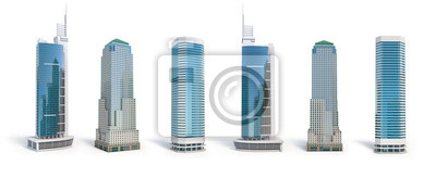Poster Set of different skyscraper buildings isolated on white.
