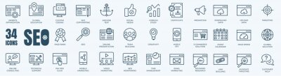 Poster Set of editable line icons of SEO - Search Engine Optimization. Thin line web icon collection. Simple vector illustration of development, optimization, analysis, and analytic.