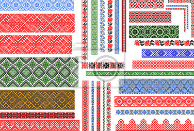 Poster Set of editable Ukrainian traditional seamless ethnic patterns for embroidery stitch. Vintage floral and geometric ornaments.