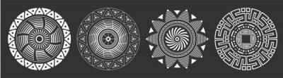 Poster Set of four abstract circular ornaments. Decorative patterns isolated on black background. Tribal ethnic motifs. Stylized sun symbols. Stencil tattoo and prints Vector monochrome illustration.