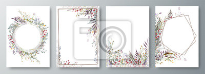 Poster Set of four invitation or greeting card design decorated with flowers.