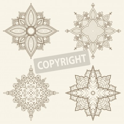 Poster Set of four mandalas  Beautiful hand drawn flowers  Ethnic lace round ornamental pattern  Can be used to fabric design, decorative paper, web design, embroidery, tattoo, etc