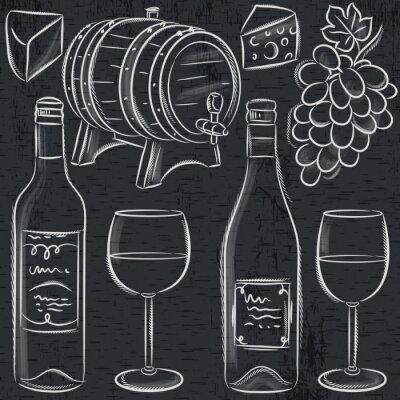 Poster set of glases and bottles for wine on blackboard, vector