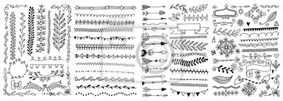 Poster set of hand drawing doodle page divider, border, corner in doodle floral style