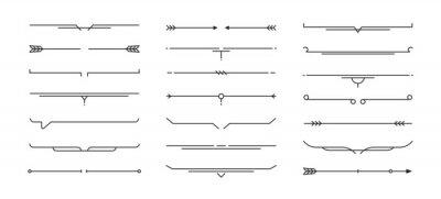 Poster Set of Hand drawn design elements. Vintage line elements. Decorative drawing badges, frames. Decoration, banners, swirls divider, emblems, arrows. Vector illustration.