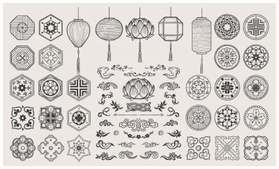 Poster Set of hand drawn oriental elements. Asian lanterns and traditional patterns.