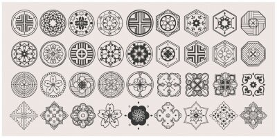 Poster Set of hand drawn oriental elements. Black mandala / Asian traditional design.