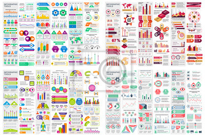 Poster Set of infographic elements data visualization vector design template. Can be used for steps, options, business process, workflow, diagram, flowchart concept, timeline, marketing icons, info graphics.