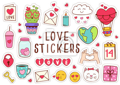 Poster set of isolated love stickers part 1 - vector illustration, eps