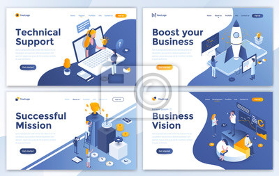 Poster Set of Landing page design templates for Technical Support, Boost your Business, Successful Mission and Business Vision. Easy to edit and customize. Modern Vector illustration concepts for websites