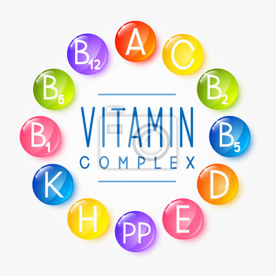Poster Set of main vitamin icons for Your design