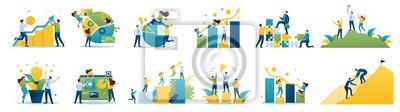 Poster Set of mini business concepts of entrepreneurs. Concepts for web design