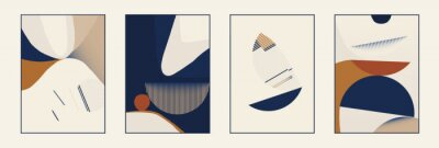 Set of minimalist abstract aesthetic composition illustrations. Modern style wall decor. Collection of contemporary artistic posters.
