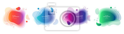 Poster Set of modern graphic design elements in shape of fluid blobs. Isolated liquid stain topography. Gradient of blue and green, red and violet geometrical shapes.Blurry background for flyer, presentation