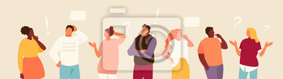 Poster Set of puzzled and surprised office people. Problem solving and discussion. Vector flat illustration