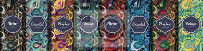 Poster Set of seamless patterns in vintage paisley style.