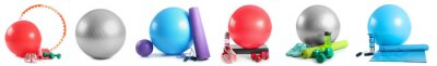 Poster Set of sports equipment with fitness balls on white background