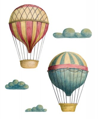 Poster Set of steampunk elements - air balloons and clouds. Hand drawn colored pencils illustration.