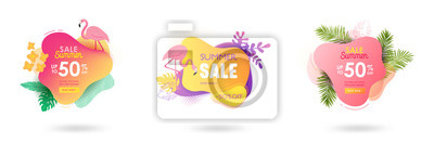 Poster Set of Summer sale banner template. Liquid abstract geometric bubble with tropic flowers, flamingo. Tropical background and backdrop, Promo badge for seasonal offer, promotion, advertising. Vector