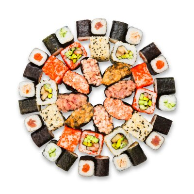 Poster Set of sushi, maki and rolls isolated at white