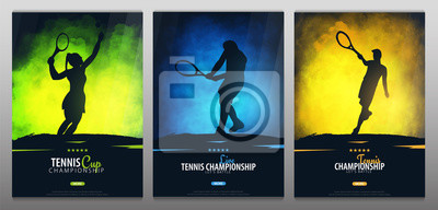 Poster Set of Tennis Championship banners or posters, design with players and racquet. Vector illustration.
