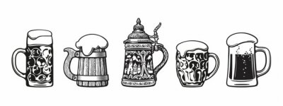 Poster Set of traditional beer mugs. Vector illustration.