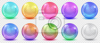 Poster Set of translucent colored spheres with glares and shadows on transparent background. Transparency only in vector format