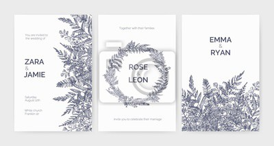 Poster Set of trendy wedding invitation templates decorated with elegant ferns, wild herbs and herbaceous plants on white background. Monochrome hand drawn vector illustration in gorgeous retro style.
