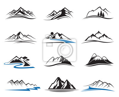 Poster set of twelve mountain icons