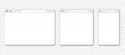 Poster Set of web browser windows. Blank template. Website template design. Mockup for web site design. Vector illustration isolated on transparent background