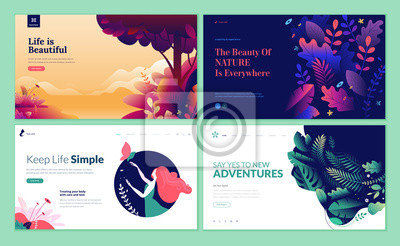 Poster Set of web page design templates for beauty, spa, wellness, natural products, cosmetics, body care, healthy life. Modern vector illustration concepts for website and mobile website development.