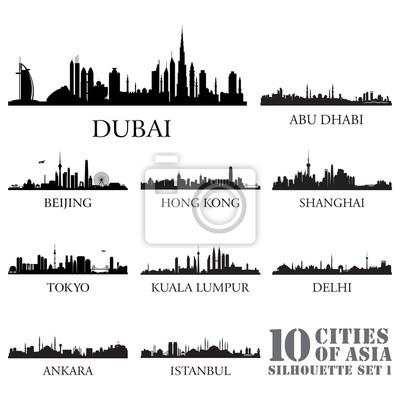 Set Skyline von Städten Silhouetten. 10 Städte Asiens Nr. 1