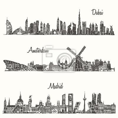 Set skylines Dubai Madrid Amsterdam drawn sketch