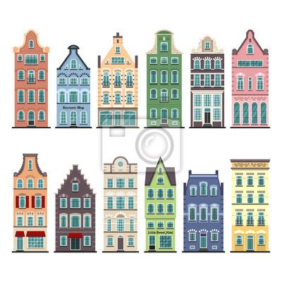 Set von 12 alten Häusern Karikaturfassaden Amsterdams. Traditionelle Architektur von Niederlande. Bunte flache lokalisierte Illustrationen in der niederländischen Art.