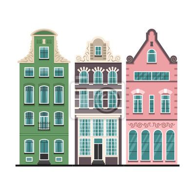 Set von 3 Amsterdam alten Häusern Karikaturfassaden. Traditionelle Architektur der Niederlande. Bunte flache isolierte Illustrationen im niederländischen Stil.