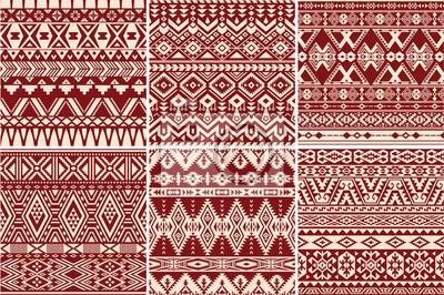 Set von 6 amerikanischen amerikanischen Vektor nahtlose Muster