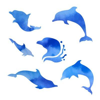 Poster Set von Aquarell-Delfine