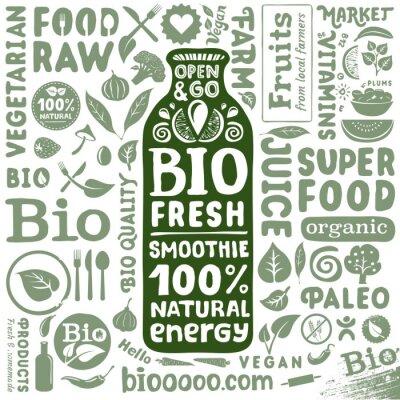 Poster Set von Bio-Labels und Symbole für natürliche Bio Lebensmittel