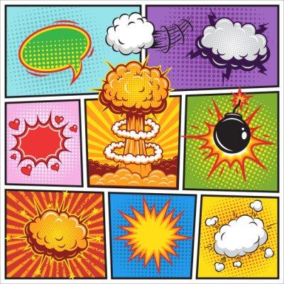 Poster Set von Comics speach und Explosionsblasen 2