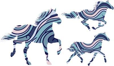 Poster Set von drei blau gemusterten Silhouetten von laufenden Pferden