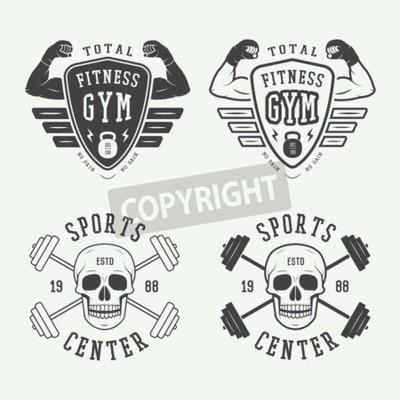 Poster Set von Fitness-Logos, Etiketten und Abzeichen im Vintage-Stil